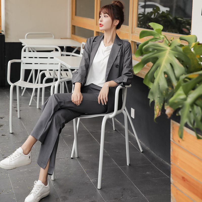Women's Pants Suit Casual Suit Set Two Piece 2019 New Autumn Full Sleeve Dark Gray Jacket Blazer Slim-fit High-rise Flared Pants