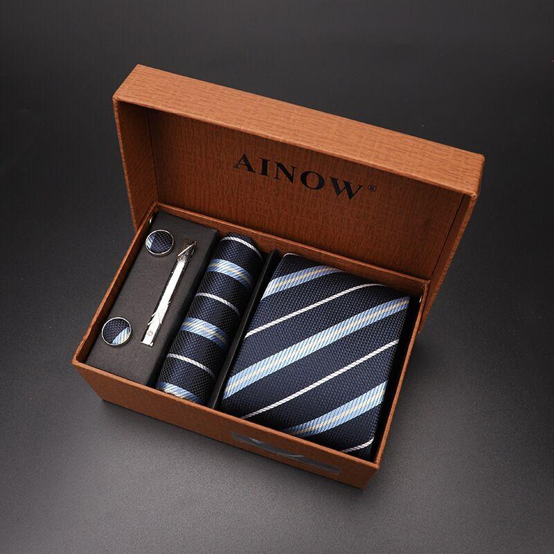 Набор галстуков 4 шт. мужской цветочный галстук для шеи клетчатый галстук подарок свадебный красный полосатый 8 см темно-синий жаккардовый тканый черный однотонный Камуфляжный ящик - Цвет: NO box 30