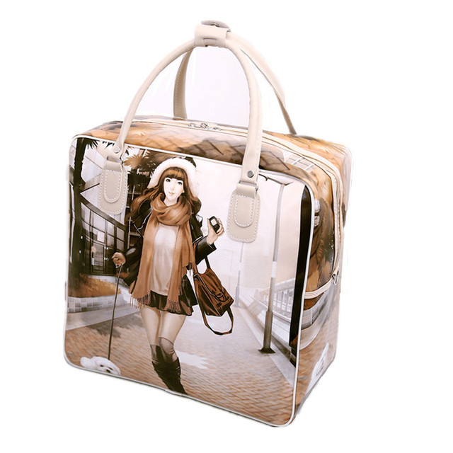 PU Leather Travel Bag Women Girl Cute Duffle Pouch Weekend Overnight Cartoon Shoulder Tote Portable Luggage Item