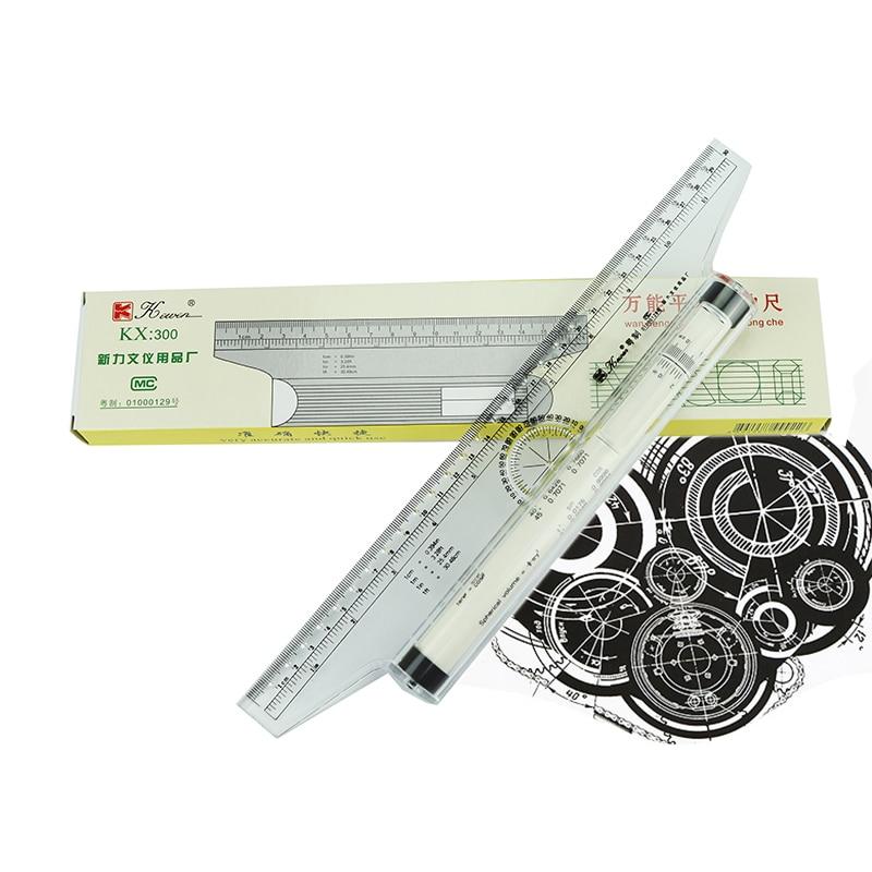 Kewen Plastic Multi-purpose Angle Parallel Ruler 30cm Universal Parallel Scroll Ruler Rolling Pusher Balancing Scale Ruler KX300