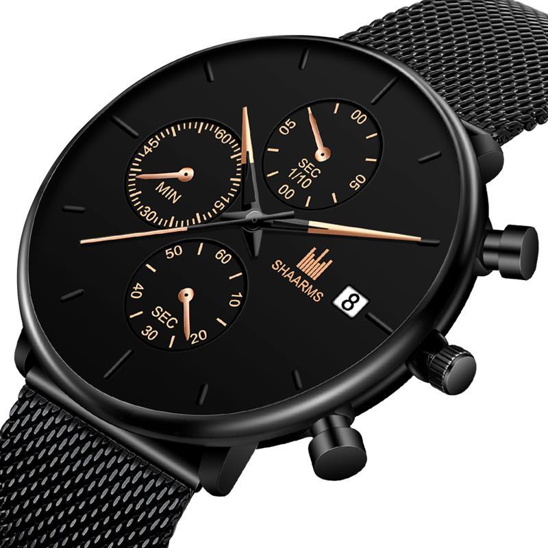 Men'S Wristwatch Stainless Steel Mesh Belt Fashion Imitation Chronograph Watch Casual Sports Quartz Watches Relogio Masculino