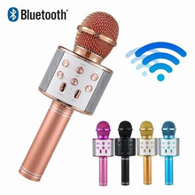WS858 Portable Bluetooth Karaoke Microphone Wireless Professional Speaker Home KTV Handheld Microphone For iPhone Android PC