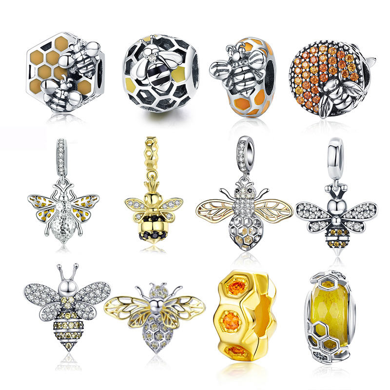 Hot Sale 100% Real 925 Sterling Silver Bee Charms Bead Fit Original Design Bracelets Bangle Silver Luxury Jewelry DIY 2020 New(China)