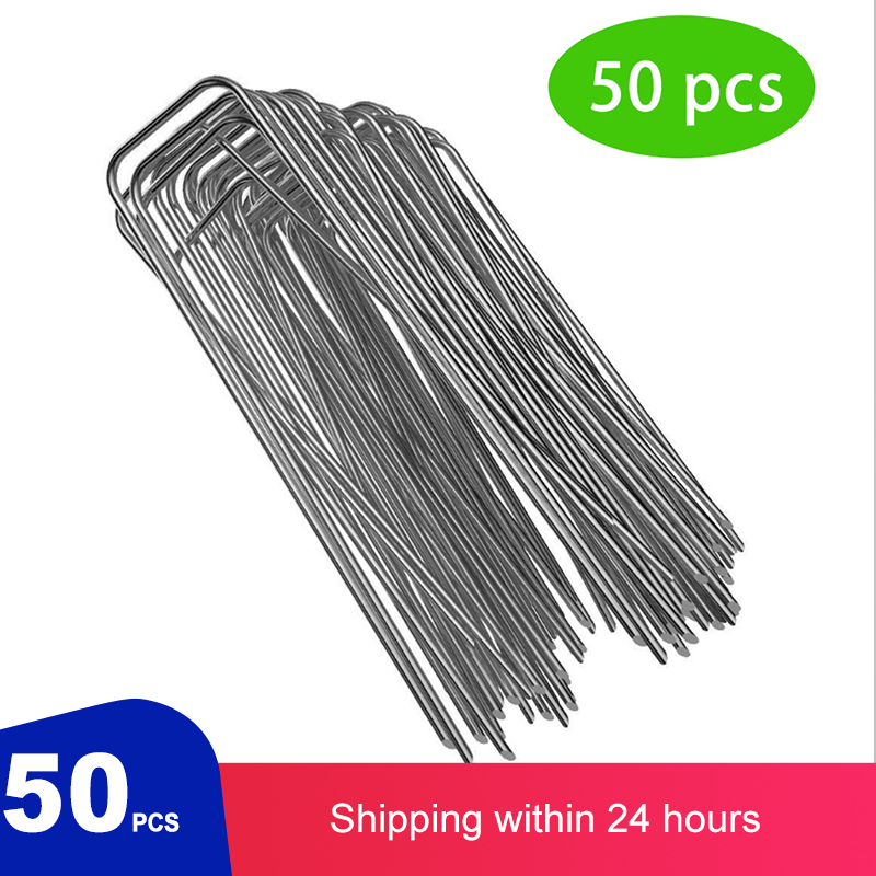 Heavy Duty U Shape Gauge Galvanized Steel Garden Stakes Staple Securing Pegs For Securing Weed Fabric Landscape Fabric Netting