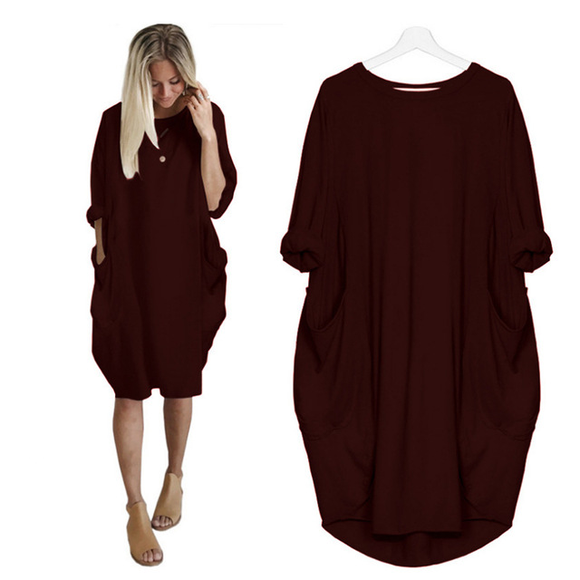 Casual Loose Pocket Long Sleeve O-neck Fashion Elegant T-shirt Dress