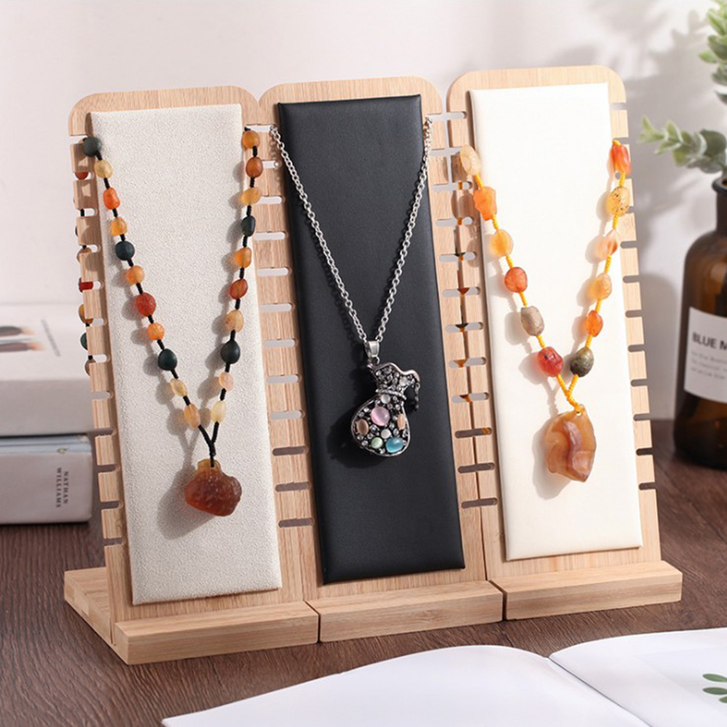 Exquisite Jewelry Display Desktop Stand Suede/Leather Bamboo Necklace Holder