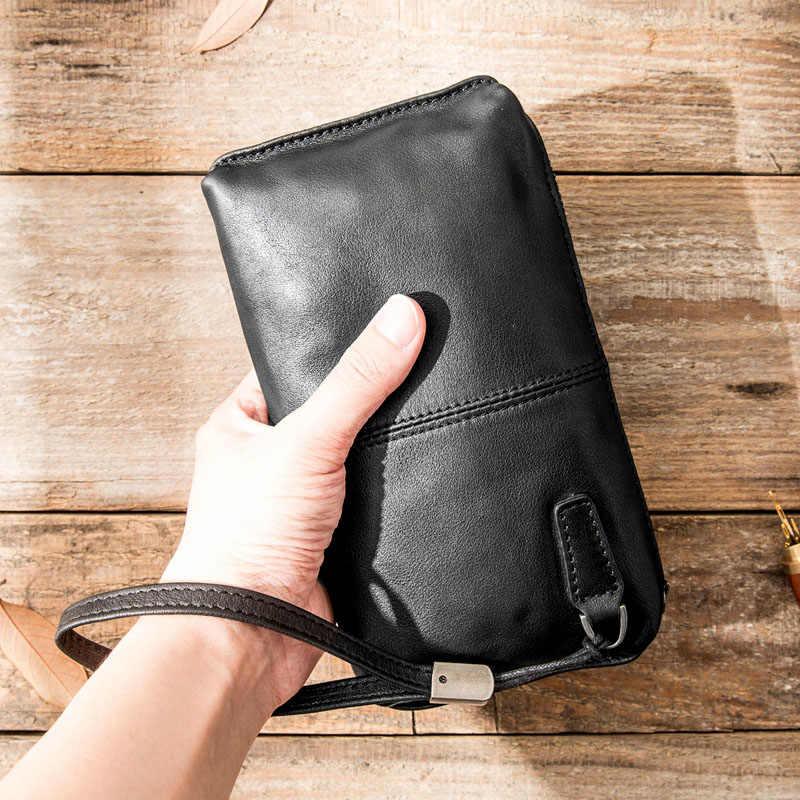 AETOO Hand tasche männer weiche leder retro lässig lange brieftasche männer erste schicht leder handy tasche