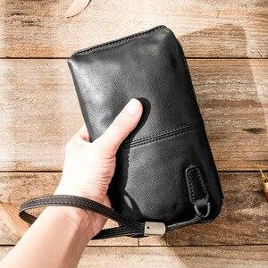 Image 2 - AETOO sac à main en cuir souple pour hommes, sacoche long rétro décontracté, sacoche pour téléphone portable