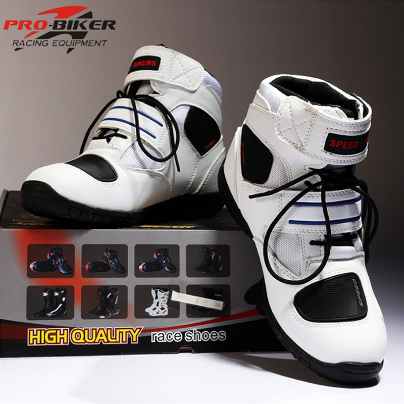 Motorcycle Boots PRO-BIKER High Ankle Racing Boots BIKERS Leather Race Motocross Motorbike Riding Boots Shoes For Women Men Shoe