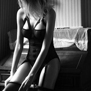 Image 1 - סקסי תחרה Bustiers עם חזיית Underwire לדחוף את מחוכי נשים הלבשה תחתונה רשת קלע פרספקטיבה גוף ומעצב פיתוי בגד גוף