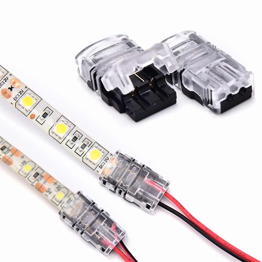 8/10 مللي متر لون واحد موصل اتصال مقاوم للماء 2pin LED قطاع إلى سلك موصل ل IP65 SMD 5050 5630 LED مصباح لاصق