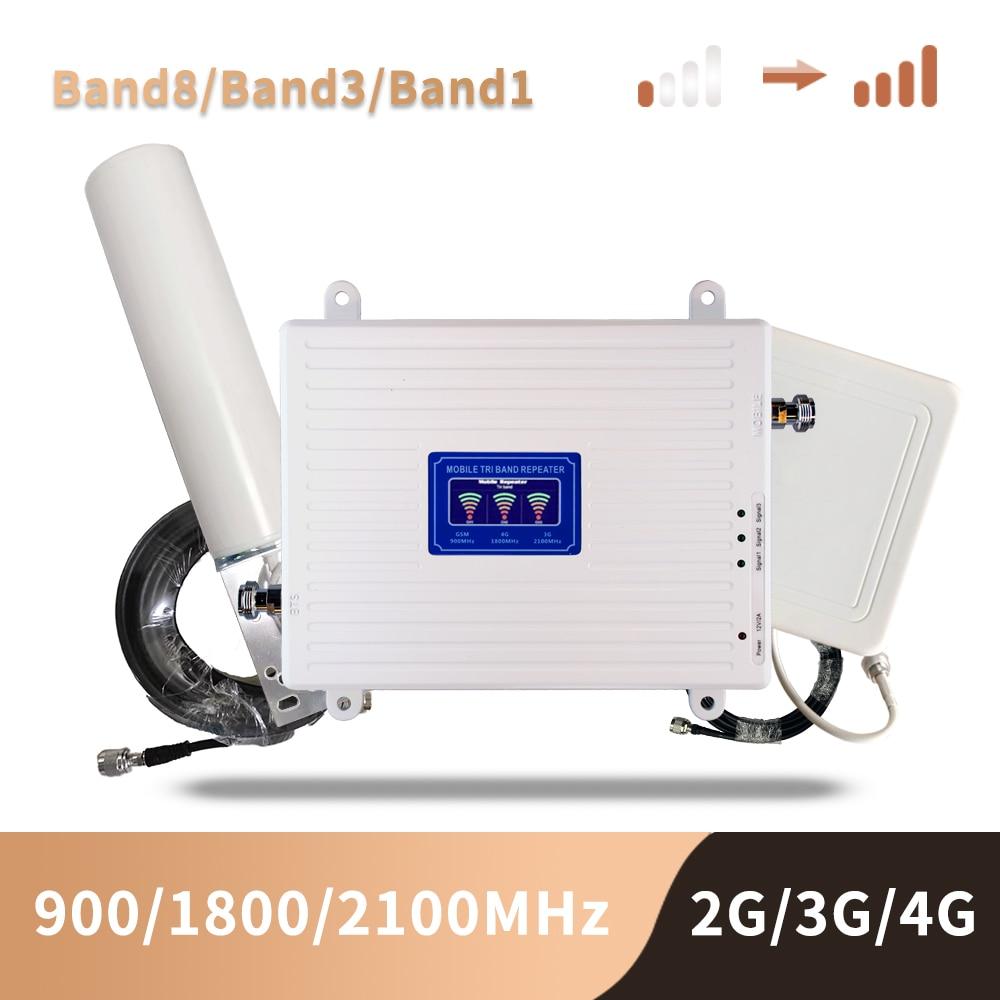 GSM 2G 3G 4G cep telefon güçlendirici Tri bant mobil sinyal amplifikatörü LTE hücresel tekrarlayıcı GSM DCS WCDMA 900 1800 2100 Set