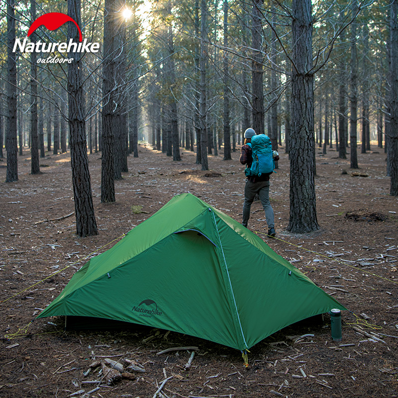 Naturehike Double Camping Tent Outdoor Ultralight 1.4kg 20d Silicone Large Space Hiking Double Door Tent With Free Mat Warm And Windproof