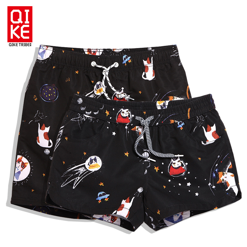 Chic Quick-Dry Beach Shorts Men And Women Couples Shorts Parent And Child Large Size Loose-Fit Swimming Trunks Korean-style Seas