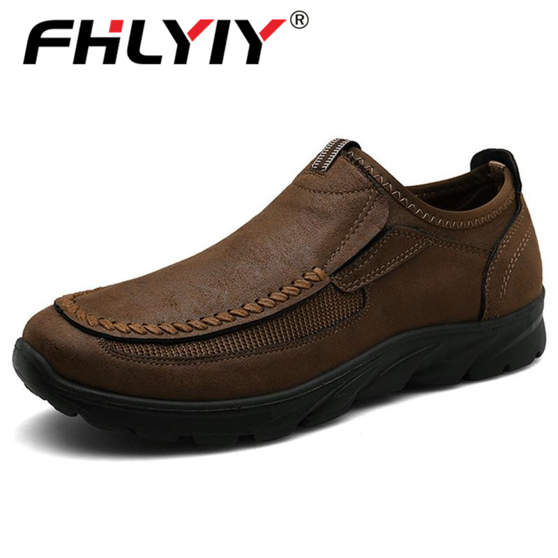 2020 Brand Spring Fashion Leather Mens Casual Shoes Outdoor Sneakers Men Loafers Ultralight Breathable Men's Shoes Plus Size 47