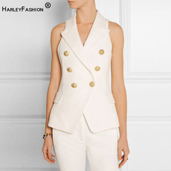 HarleyFashion Classic Design Women Summer Sleeveless Double Breasted Buttons Solid Color Quality Casual Vest Stunning Tops