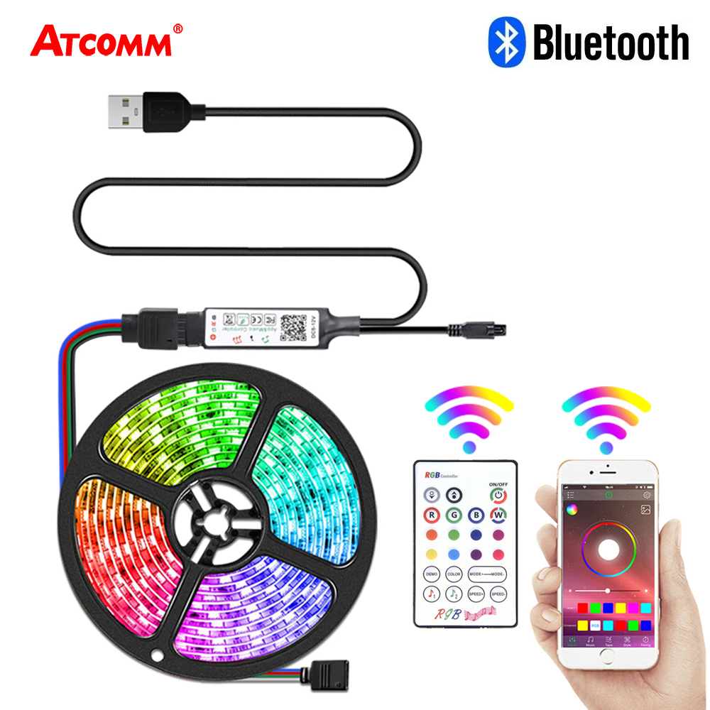 5V USB Bluetooth Smart Backlight LED Strip Light 5M 5050 RGB Music Timming Multi Colored LED Lights For HDTV PC Screen Bedroom