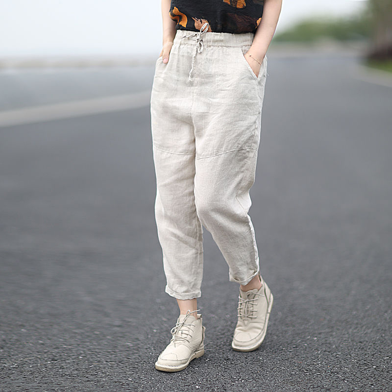 New Arrival 2020 Spring Summer Women Loose Solid Cotton Linen Ankle-length Pants All-matched Casual Harem Pants Plus Size S987