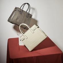 White Ladies Hand Bags Embossed Genuine Leather Shoulder Top