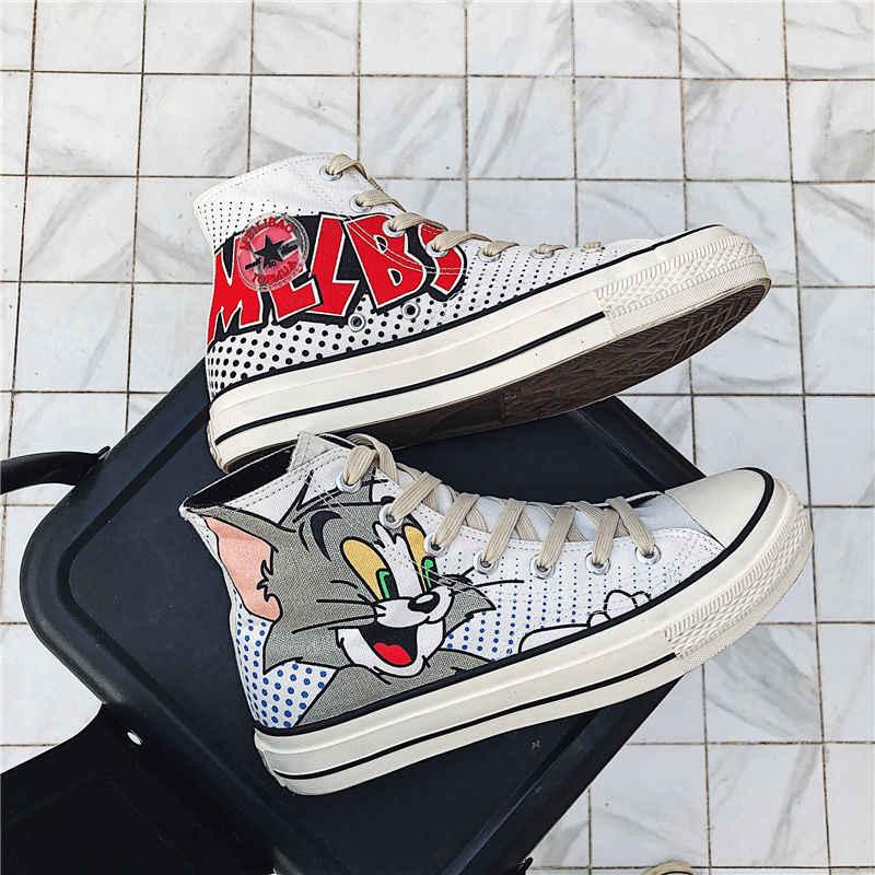 2019 Mới Giày Vải Nam Nhân Quả Cao Hàng Đầu Giày Tom & Jerry In Nam Cách Điệu Vulcanize Giày Học Sinh Trở Lại trường Học