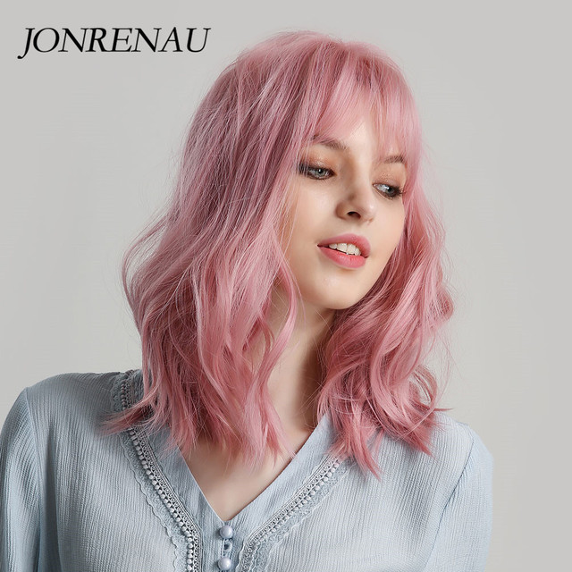 JONRENAU High Quality Short Natural Wave Hair Synthetic Wigs with Neat Bangs for Women Pink Beige Brown 3 Colors for Choose 2