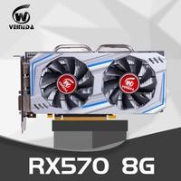 VEINEDA Video Card RX 570 8GB 256 Bit GDDR5 rx 570 PCI Express 3.0 x16 DP HDMI DVI Ready for AMD Graphics Card geforce games