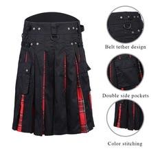 2019 Men's Scottish Kilt Traditional Skirt Traditional Plaid Belt Kilt Tartan Skirt Tartan Trousers Skirt Bilateral Chain Dress