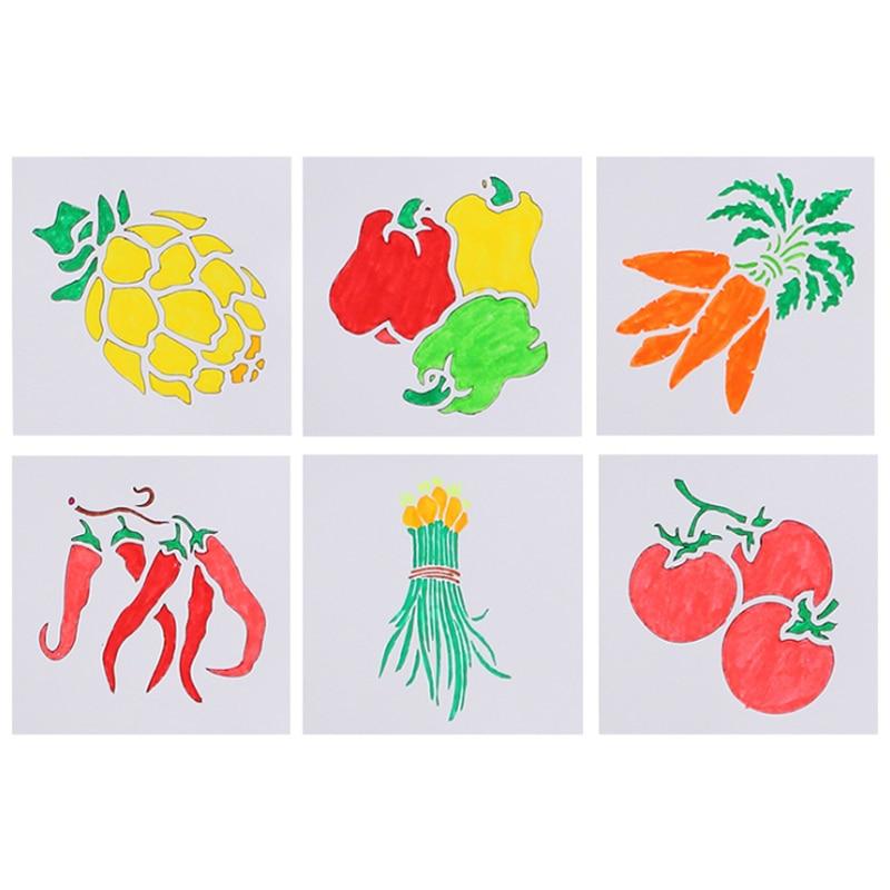 Vegetables Stencils Handmade DIY Scrapbook Painting Template Diary Doodle Hollow Hand Book Graffiti Ruler Office School Supplies