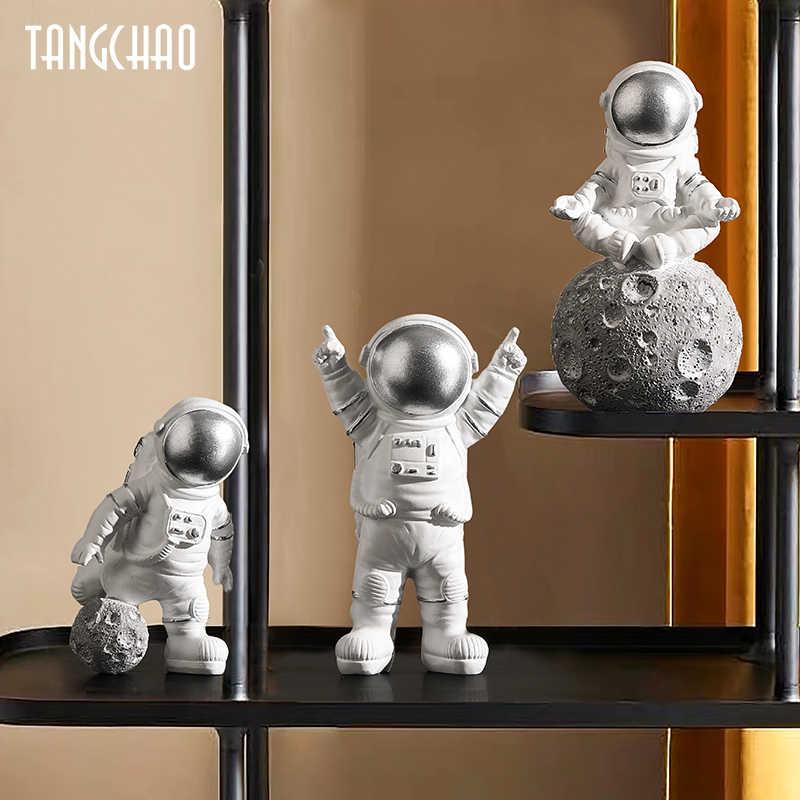 Фигурки скандинавских астронавтов, 3 шт., полимерная скульптура, Современный домашний декор, миниатюрные настольные украшения, фигурка космонавта, домашний декор