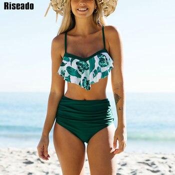 Riseado High Waisted Bikini 2021 Ruffle Women's Swimsuit Swimwear Leaf Print Bathing Suit Ruched Beachwear Strap Bikinis Summer 1