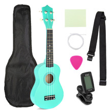 21 Inch Green Soprano Ukulele Basswood 4 Strings Hawaiian Guitar Musical Instruments Ukulele Soprano Guitar with Gig Bag Tuner