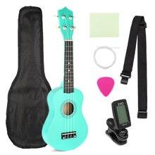 21 Polegada Verde 4 Basswood Soprano Ukulele Cordas Da Guitarra Instrumentos Musicais Soprano Ukulele Guitarra Havaiana com Gig Bag Sintonizador