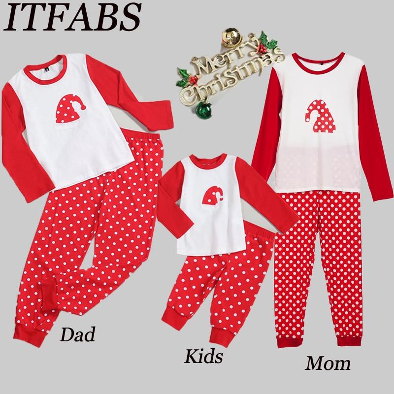 2019 Polka Dots Christmas  Family Pajamas Set Women Kids Baby Sleepwear Nightwear