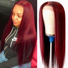 Красный 99j Цветной бордовый 4x4 закрытие парик прямые Синтетические волосы на кружеве парики из натуральных волос бразильский часть синтети...