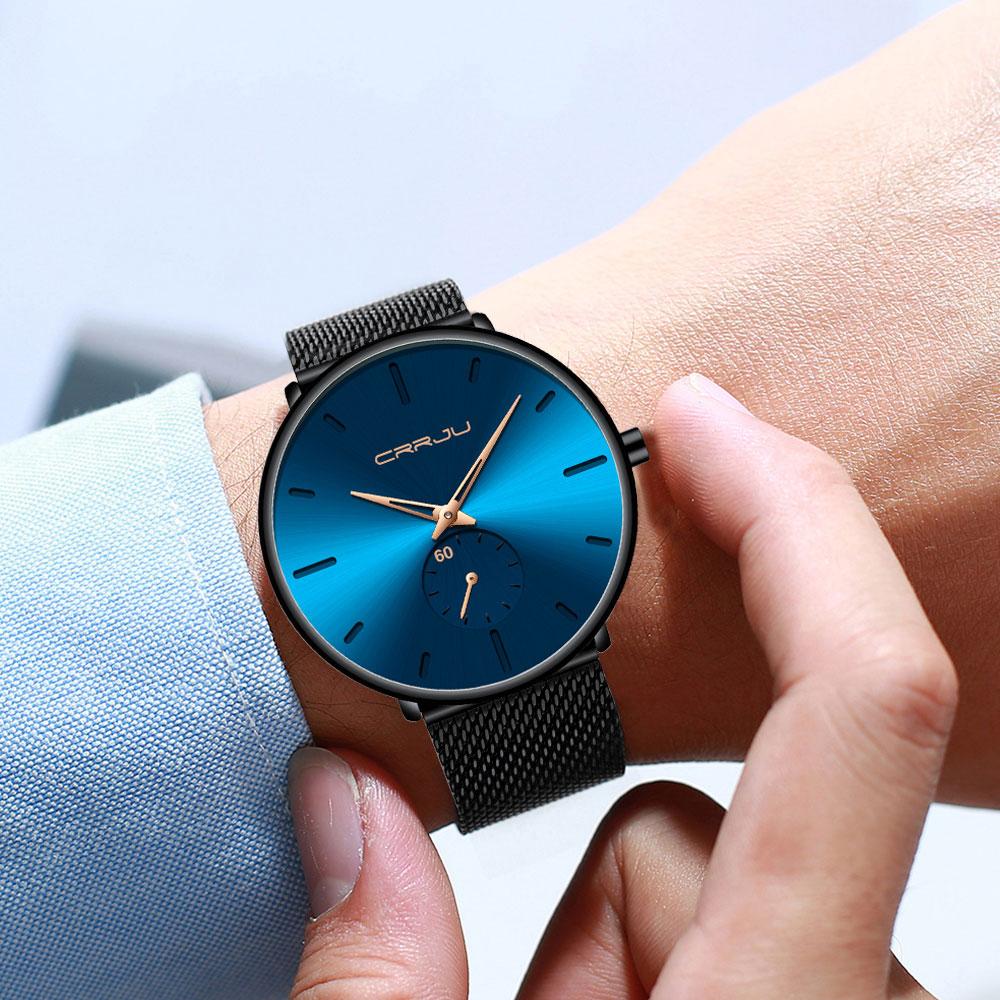 He39bd1d0295d4305835625c2db36aa87o CRRJU Ultra Thin Blue Stainless steel Quartz Watches Men Simple Fashion Business Japan Wristwatch Clock Male Relogio Masculino
