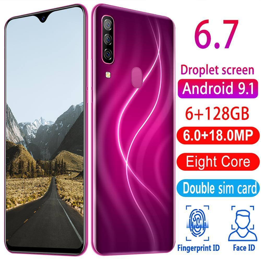 New Smartphones A70 Pro 6G RAM 128G ROM Cell Phones Android 9.1 Fingerprint Recognition Unlocked 6.7 HD+ 720x1560 Mobile Phones