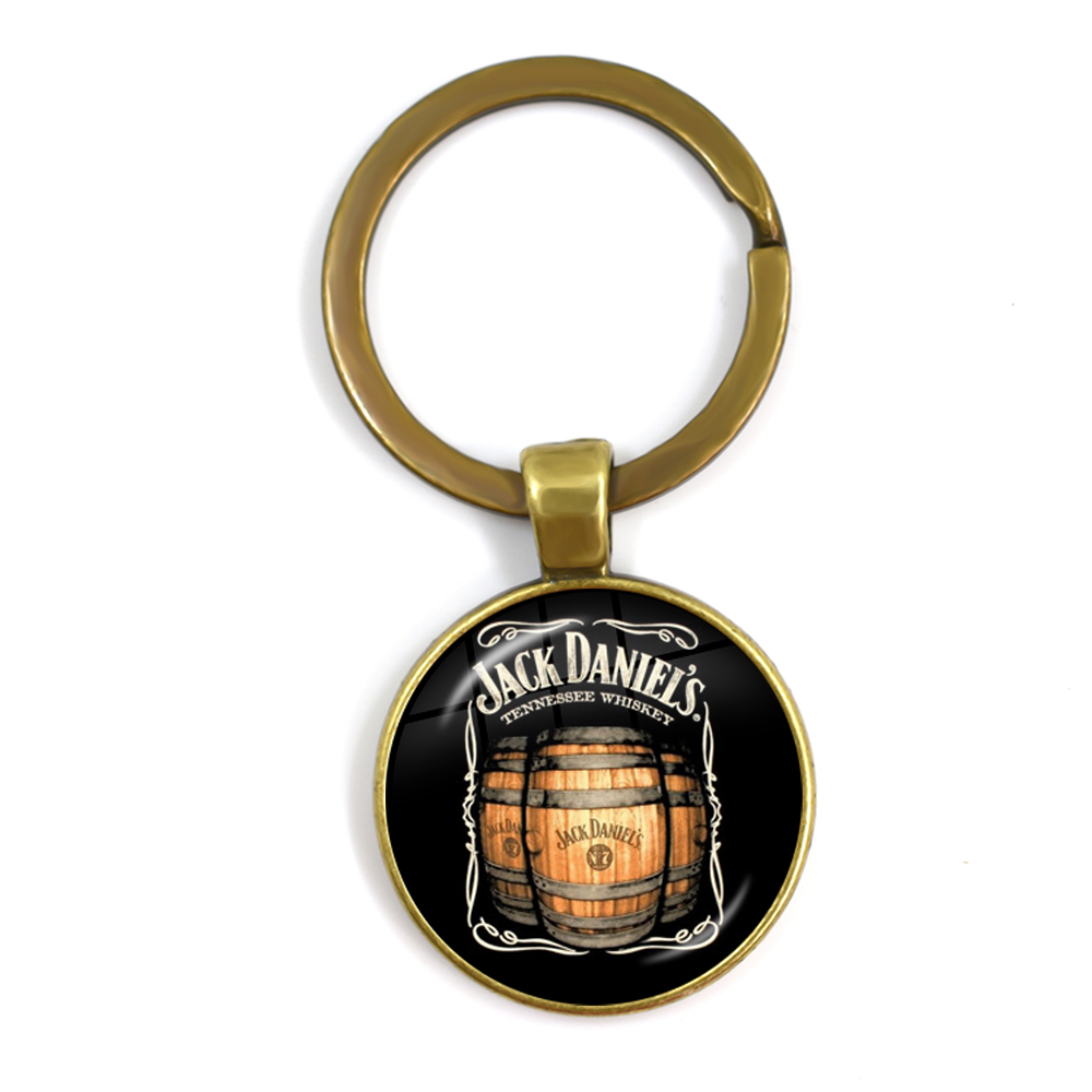 New Style Accessories Jack Daniels 25mm Glass Cabochon Keychains Black And White With Pattern Key Rings Holder For Men Gift