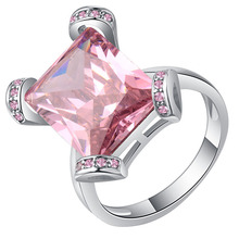 Luxury Princess Cut Pink Crystal Engagement Ring Birthstone Gems Anniversary Ring Fashion Silver Rings Jewelry Gifts