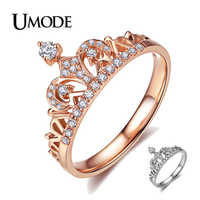 UMODE CZ Crystal Fashion Rose Gold Crown Rings for Women White Gold Engagement Wedding Ring Jewelry Anillos Mujer Bague AUR0217
