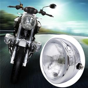 Image 1 - 6 אינץ 35W 12V האוניברסלי רטרו מתכת ערפל מנורת אופנוע פנס צד הר עגול מנוע פנס עבור מחזיק להאלי/סוזוקי