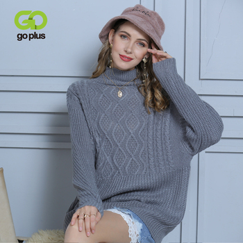 GOPLUS 2020 Winter Knitted Women's Long Sweater Turtleneck Batwing Sleeve Pullovers Women Oversized Befree Streetwear Pull Femme
