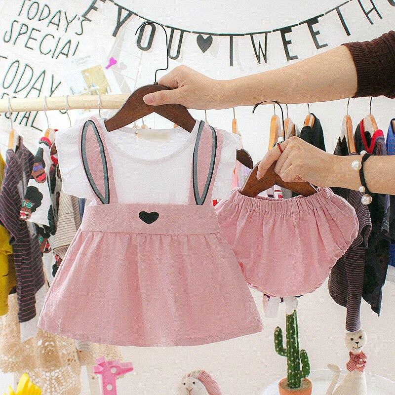 3 6 9 12 24 meses 1 2 anos de idade recém-nascido roupas infantis do bebê meninas sem mangas vestido + shorts da criança do verão meninas conjuntos