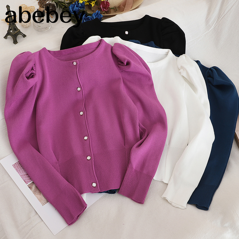 New Arrival Elegant Sweater Women Solid Color Single Breasted Short Cardigans Korean Fashion New Knitwear Tops 91149