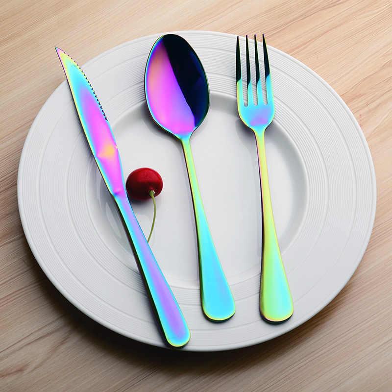 Dao Kéo Bộ Bàn Ăn Inox Bộ Dao Kéo Nhà Hàng Du Lịch Đồ Ăn Bộ Cầu Vồng Dao Muỗng Nĩa Thìa Bộ Đồ Ăn