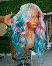 ALIFITOV Mix 613 Blue Pink 13x4 Lace Front Wigs Brazilian Body Wave Human Hair Wig Remy hd Lace Wig for Women
