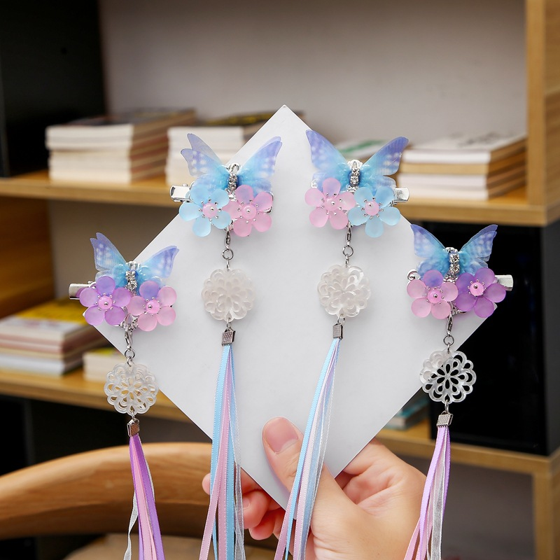 1pc Retro Chinese Style Hanfu Headdress Antique Hair Accessories Ancient Ornaments Tassel Butterfly Girl Super Fairy HairpinClip