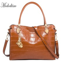 Mododiino Designer Crocodile Pattern Women Handbag Leather Shoulder Bag Crossbody Ladies Handbags Big Bags For DNV1197