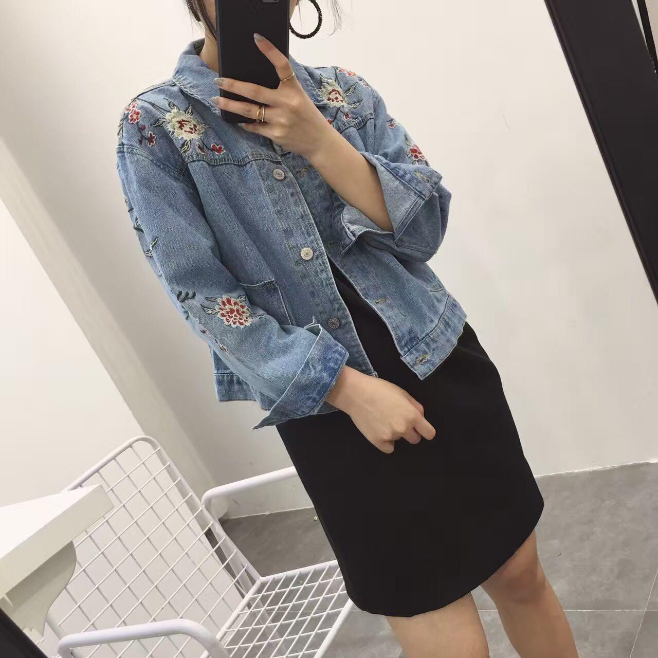 Retro South Korea CHIC-Style Exquisite Embroidery Flowers Loose-Fit Washing Light Blue Jeans Coat Women's 9908