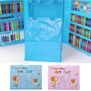 Image 3 - 208 adet boyama çizim seti mum boya renkli kalemler suluboya kalemler çocuk çocuk öğrenci sanatçı sanat seti boya fırçaları