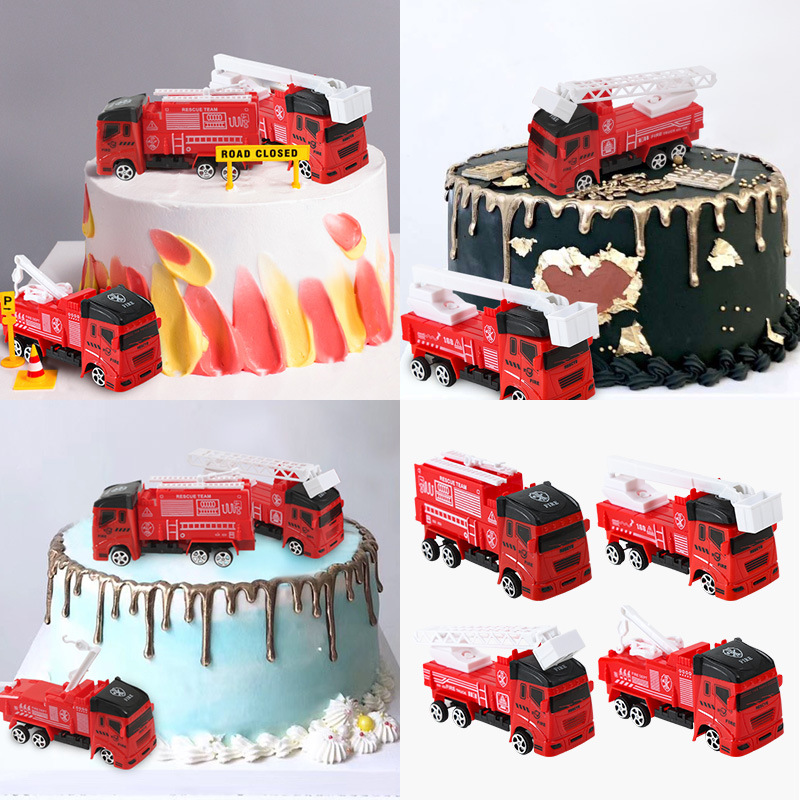 Admirable Cake Decoration Fire Truck Figurines Construction Ornaments Car Funny Birthday Cards Online Alyptdamsfinfo